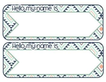 *Classroom Decor* - TRIBAL PRINT Name Plates and Blank Labels - EDITABLE