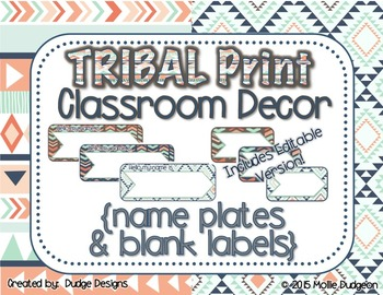 *Classroom Decor* - TRIBAL PRINT Name Plates and Blank Lab