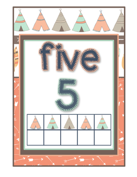 *Classroom Decor* - TRIBAL PRINT Number Signs {0-20}