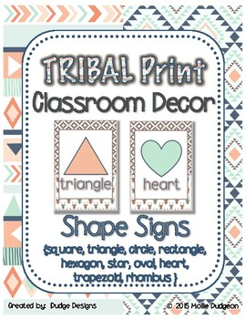 *Classroom Decor* - TRIBAL PRINT Shape Signs