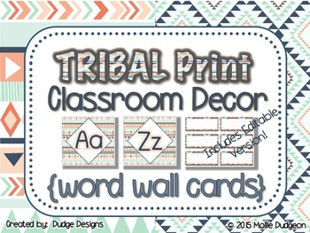 *Classroom Decor* - TRIBAL PRINT Word Wall Letters and EDITABLE Word Cards