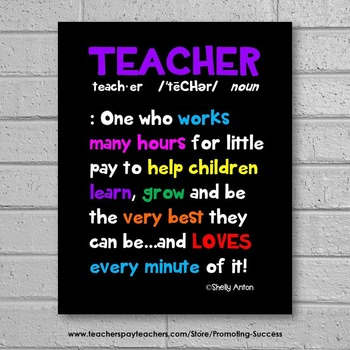 End of the Year Teacher Appreciation Gift, Definition of a Teacher 8x10 or 16x20