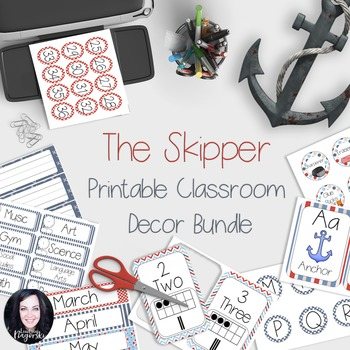 Nautical Classroom Decor - The Skipper (Red, White and Blue)!!!