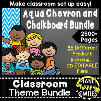 Classroom Decor Theme Bundle ~ Aqua and Chalkboard
