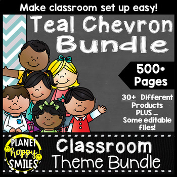Classroom Decor Theme Bundle ~ Teal and Chalkboard