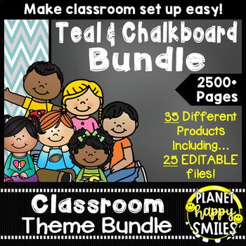 Classroom Decor Theme Bundle ~ Teal and Chalkboard
