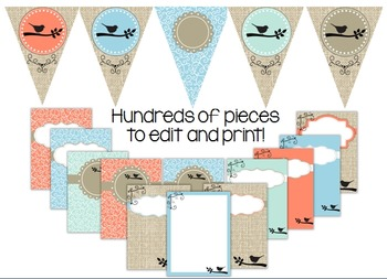 Classroom Decor Theme Set~ EDITABLE~Birds on Burlap {Kidsrcute}
