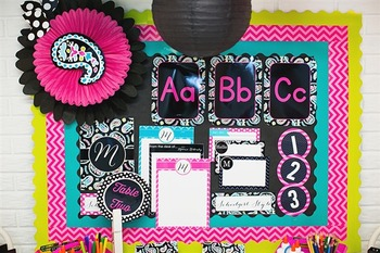 Classroom Decor Tickle Me Pink Paisley - Full Collection Bundle