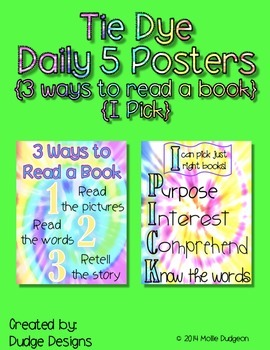 *Classroom Decor* - Tie Dye Daily 5 Signs - 3 Ways to Read