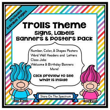 Classroom Decor Troll Theme (Troll Posters, Signs, Labels and Banners)