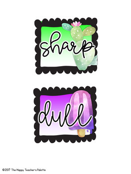 Classroom Decor Tropical Pencil Labels Sharp and Dull *Freebie*