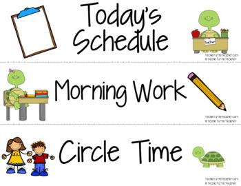 Classroom Decor - Turtle Schedule Cards