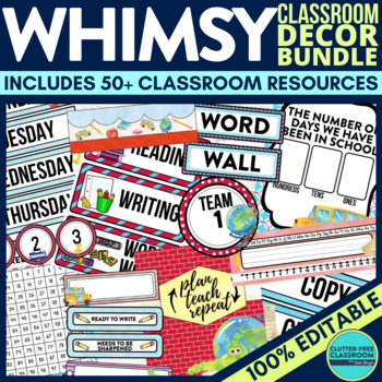 WHIMSY THEME Classroom Decor - EDITABLE Clutter-Free Classroom Decor BUNDLE