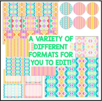 Classroom Decor - Watercolor Rainbow Stripes BLANK EDITABLE ONLY
