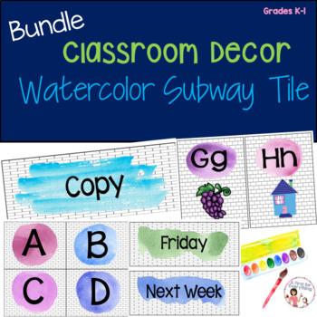 Classroom Decor Watercolor Subway Tile