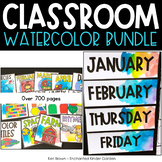 Classroom Decor Watercolors Bundle - Labels, Alphabet Line, Calendar, Birthday