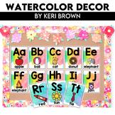 Classroom Decor Watercolors Bundle - Labels, Alphabet Line