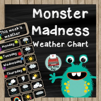 Classroom Decor - Weather Chart - Monster Madness Theme