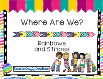 Classroom Decor: Where Are We: Rainbow and Neon Brights (editable)