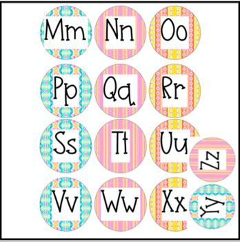 Classroom Decor - Word Wall Letters - Watercolor Rainbow Stripes