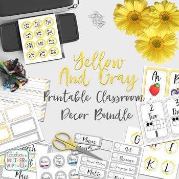 Classroom Decor- Yellow and Gray