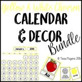 Yellow Chevron Classroom Calendar & Decor Bundle {Editable}