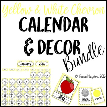 Yellow Chevron Classroom Calendar & Decor Bundle {Editable}