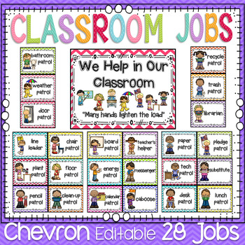 Classroom Jobs Classroom Decor In Chevron By First Grade
