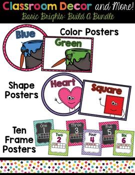 Classroom Decor and Labels Bundle- Blue Polka Dots