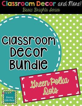 Classroom Decor and Labels Bundle- Green Polka Dots