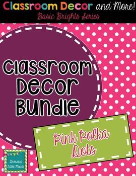 Classroom Decor and Labels Bundle- Pink Polka Dots