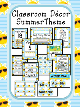 Classroom Decor editable - Summer Theme
