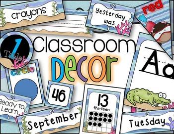 Classroom Decor in an Ocean Theme for Back to School Editable