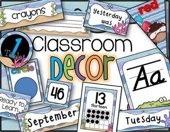 Classroom Decor in an Ocean Theme for Back to School Editable D'Nealian style