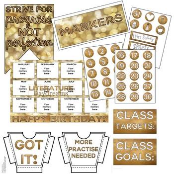Classroom Decor Set Gold