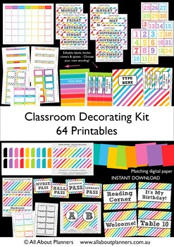 Classroom Decorating Kit Printables Rainbow Organization