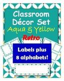 Classroom Decoration: Aqua & Yellow Retro Labels, Name Plates and Alphabets