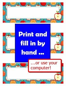 Classroom Decoration: Back-to-School Apples Labels, Name Plates and Alphabets