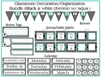 Classroom Decoration Bundle (Black&White Chevron w/ aqua)