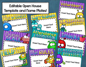 Monster Theme Classroom Decoration Bundle (Behavior Chart, Name Plates, Signs)
