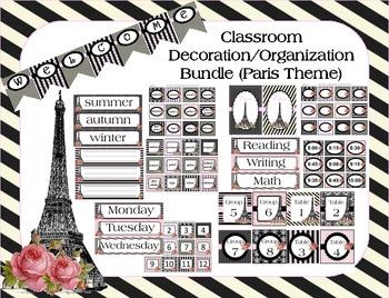 Classroom Decoration Bundle (Paris Theme)