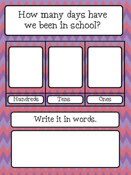 Classroom Decor Bundle - Purple and Red Chevron Design