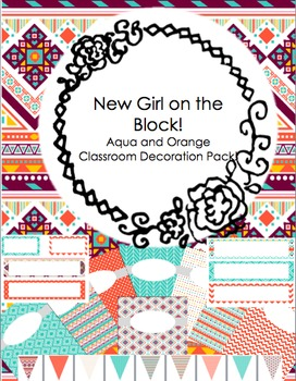 Classroom Decoration Pack - Editable - Aqua and Orange
