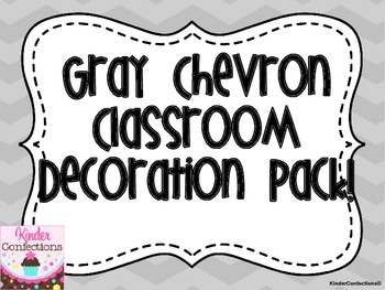 Classroom Decoration Pack Gray Chevron