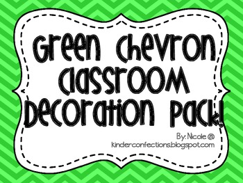 Classroom Decoration Pack in Green Chevron