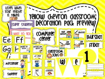 Classroom Decoration Pack in Yellow Chevron