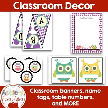 PURPLE OWL Theme Classroom Decor -OVER 110 PAGES OF CLASSROOM ESSENTIALS