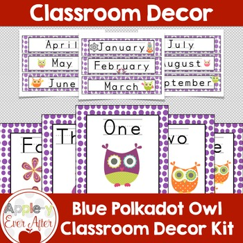 PURPLE OWL Theme Classroom Decor -OVER 110 PAGES OF CLASSR