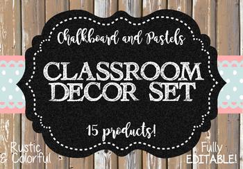 Classroom Decoration Set - Chalkboard and Pastels Theme