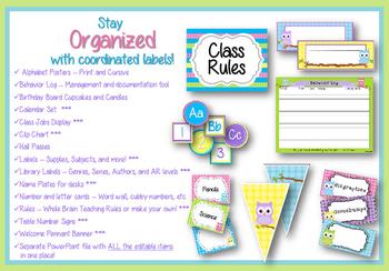 Classroom Decoration Set - Owls and Polka Dot Brights